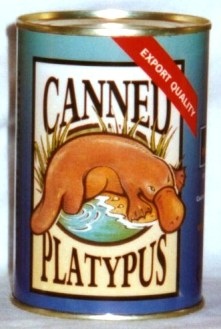 A perfect gag gift for Christmas - canned platypus toy