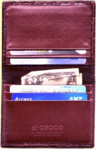 Open small wallet cardholder made of crocodile leather