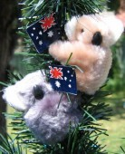 Clip-on koala toys with Australian flag