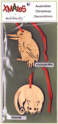 kookaburra and possum Christmas tree decorations