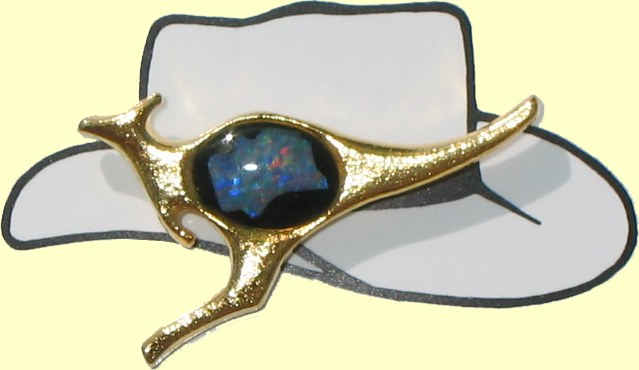 Kangaroo hat, tie and lapel pins with Australian opal chips