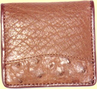 Ostrich Leather Coin Purse in kango color