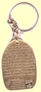 Brass chain key ring back view