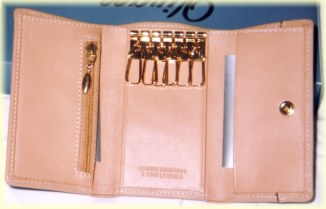 Kangaroo leather key case purse wallet inside features