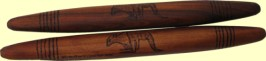 clap sticks mulga wood hand burnt